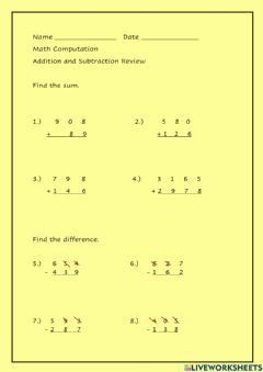 Interactive worksheet Addition and Subtraction Mixed Review