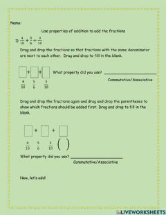 Interactive worksheet Using addition properties for adding fractions