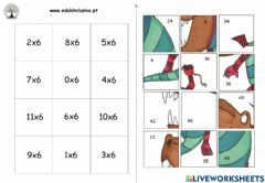 Interactive worksheet Puzzle tabuada do 6