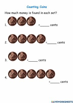 Interactive worksheet Couting Coins