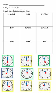 Interactive worksheet Telling time to the Hour