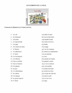 Interactive worksheet Les endroits de la ville 2