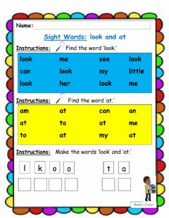 Interactive worksheet Sight Words 'look' and 'at'