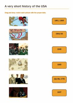 Interactive worksheet A very short american history- 1 (adapté Enjoy English