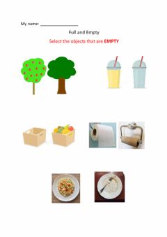 Interactive worksheet Concept of Empty and Full