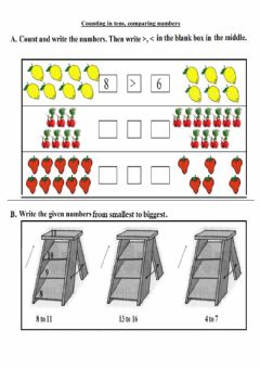 Interactive worksheet Count in 10s, comparing numbers