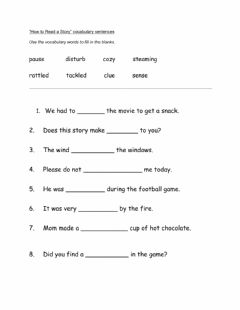 Interactive worksheet How to Read a Story fill in blank vocabulary