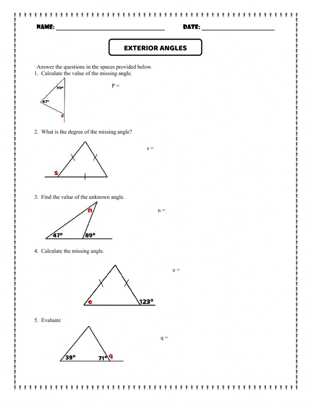 Exterior Angles worksheet In Triangle Angle Sum Worksheet