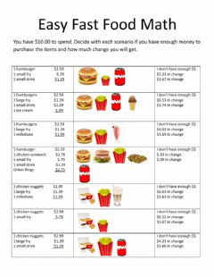 Ficha interactiva Easy Fast Food Math