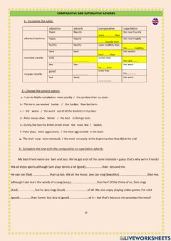 Interactive worksheet Comparative & superlative adverbs