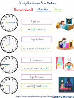 Ficha interactiva Daily routines 5 - Match