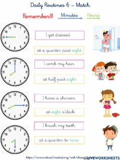 Ficha interactiva Daily routines 6 - Match