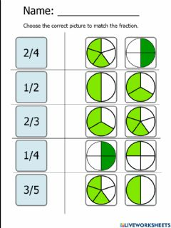 Interactive worksheet Match Visuals to a Fraction