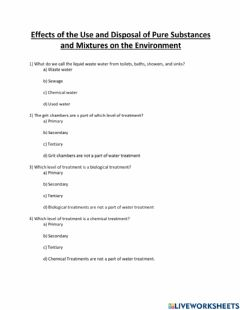 Interactive worksheet Environmental Impacts of Pure Substances and Mixtures