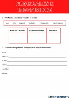 Interactive worksheet Determinantes numerales e indefinidos