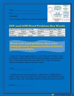 Interactive worksheet LCM and GCF Word Problems