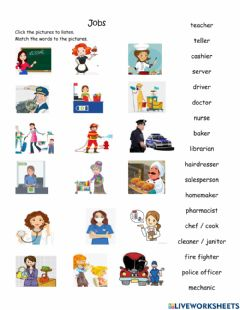 Interactive worksheet jobs and workplaces review