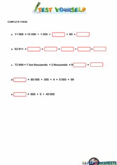 Interactive worksheet Partition Number