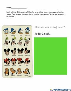 Ficha interactiva Writing: How are you feeling today?