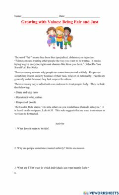 Interactive worksheet Growing With Values Fairness- Fair and Just