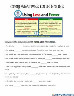 Interactive worksheet Comparatives with nouns
