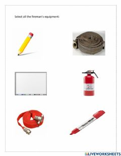 Interactive worksheet Fireman's equipment