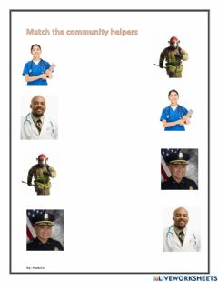 Interactive worksheet Match the community helpers