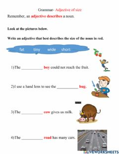 Interactive worksheet Adjectives of Size
