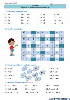 Interactive worksheet Impartirea numerelor naturale 0-100