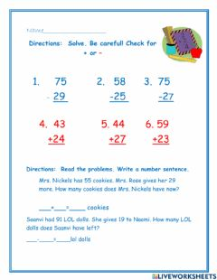 Interactive worksheet 2 digit add and sub w an wo regrouping