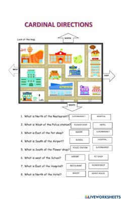 Interactive worksheet Map- Cardinal directions