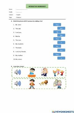 Interactive worksheet LKS Interaktif Tentang Pronoun