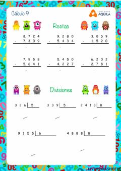 Interactive worksheet Calculo T2 - 9 restas y divisiones
