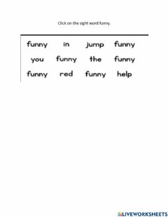 Interactive worksheet Funny Sight Word
