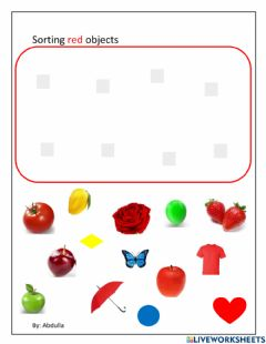 Interactive worksheet Sorting red color objects