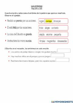 Interactive worksheet Antónimos 2G