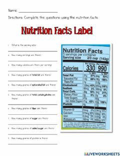 Interactive worksheet Nutrition Facts Label