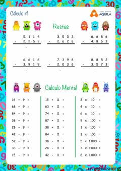 Interactive worksheet Calculo T2 - 4 restas y cálculo mental