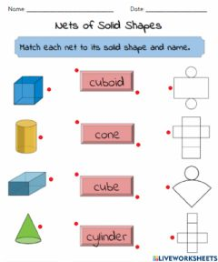 Ficha interactiva Nets of Solid Shapes