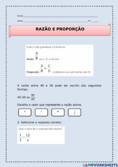 Interactive worksheet Razão