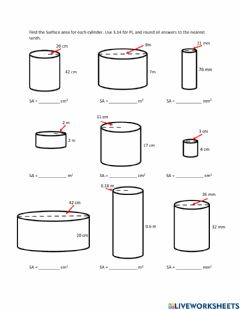 Interactive worksheet Surface Area of Cylinders