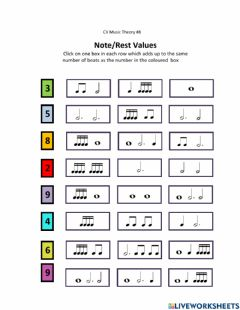 Interactive worksheet Music Notes and Rests