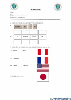 Interactive worksheet Où tu habites?