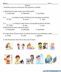 Interactive worksheet Sources and uses of water