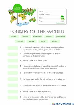 Interactive worksheet Exploring Earth's Biomes: Vocabulary Worksheet (HuntersWoodsPH)