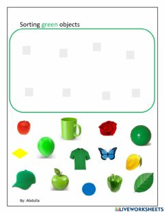 Interactive worksheet Sorting green color objects