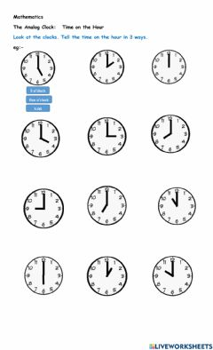 Interactive worksheet Time on the Hour