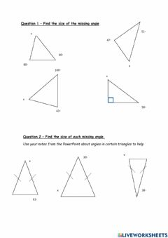 Interactive worksheet Angles in a triangle