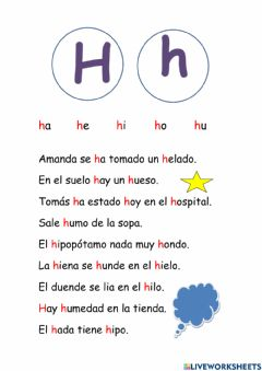 Interactive worksheet Letra h