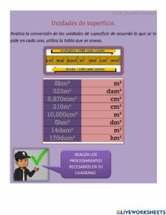 Interactive worksheet Unidades de superficie
